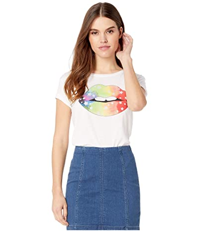 Chaser Rainbow Star Lips Vintage Jersey Tee (White) Women