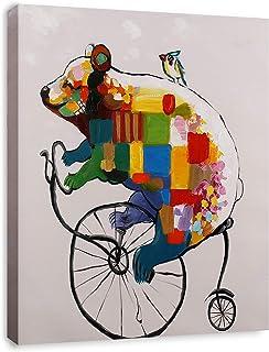 ART HUB Bear Cub Penny-Farthing Modern Pop Animal Art (Framed) Canvas Print Home Decor Wall Art, Gallery Wrap Inner Frame,...
