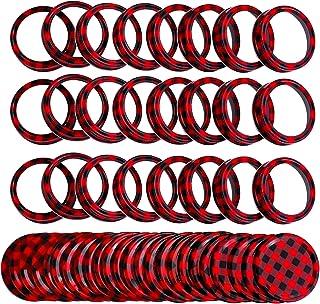 Ruisita 24 Set Regular Mouth Split-type Lids Rings and Bands Reusable Metal Mason Canning Jar Lids Christmas DIY Lids for ...