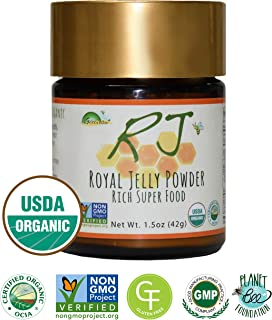 GREENBOW Royal Jelly Powder– 100% USDA CERTIFIED ORGANIC Royal Jelly, Gluten Free, Non-GMO Royal Jelly, Freeze Dried – One of the Most Nutrition Packed Diet Supplements –No Additives/Flavors (42g)