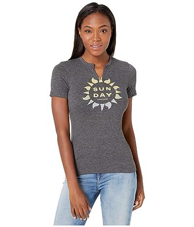 Life is Good Sun Day Favorite Split-Neck Tee (Night Black) Women
