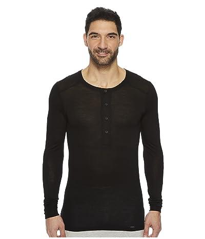 Hanro Light Merino Long Sleeve Shirt (Black) Men
