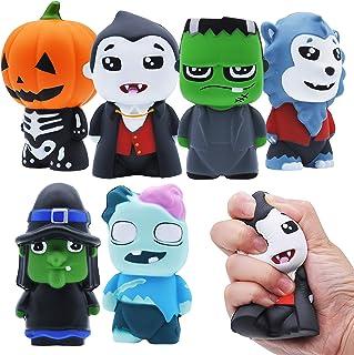 JOYIN 6 Pack Halloween Themed Squishy Toys Slow Rising Stress Relief Super Soft Squeeze Kawaii Cute Halloween Friends Char...