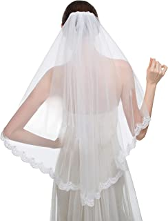 1T One Tier Sparkly Elbow Lace Appliques Edge Bridal Veils with Comb