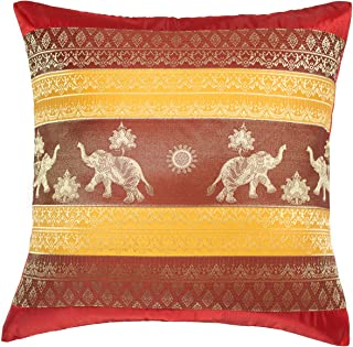 Avarada 16x16 inch (40x40 cm) Print Elephant Sun Decorative Throw Pillow Case Cushion Cover for Sofa Couch Chair Bed Insert Not Included Zipper Red Yellow