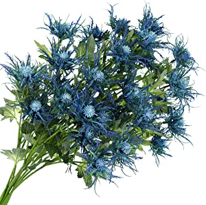 FiveSeasonStuff Real Size Artificial Thistle Flowers Real Touch 8 Stems Rustic Blue Thistle Decor Spray Eryngium | Sea Holly for Wedding Bouquet Centerpiece 26 inches