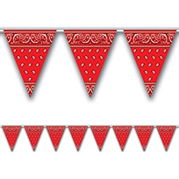 Wild West Party Accessory for Western Cowboy Themed Party Decoration 7.4 x 10.8 Inch 5 Pack Bandana Pennant Banner Christmas