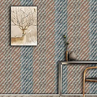 JZ·HOME 3501 Textured Woven Grass Wallpaper Rolls, Blue Purple/Milk White/Brown for Home Living Room Cafe Bar Wall Decoration 20.8