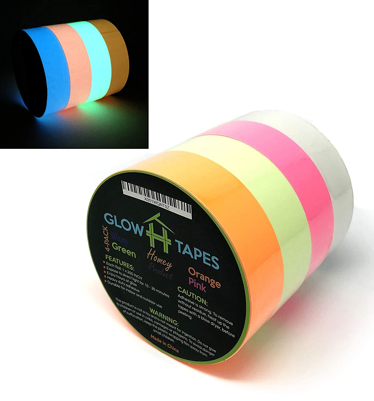 Glow in Dark Tape | Heavy Duty Set of 4 Bright Colors: Green, Orange, Blue, Pink | Strong With Hours of Glow | Great For Glow Party Supplies & Decorations | Each Luminous Glow Tape is 1
