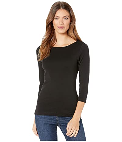 Lilla P 1X1 3/4 Sleeve Boat Neck Tee (Black) Women