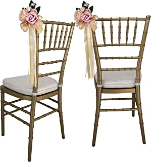 Aurielle Wedding Aisle Decorations - Set of 8 Ivory, Cream & Blush Pink Roses Hanging Wedding Chair Decorations with Drapes | Wedding Decor for Beach, Garden, Pew or House Ceremony