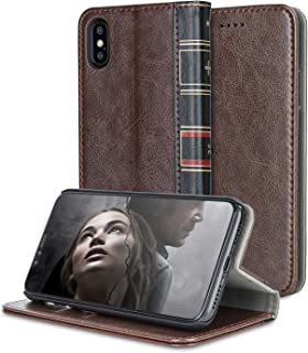 Olixar iPhone X Leather-Style Book Case - X-Tome - Built-in Viewing Stand, Card Storage Slots and Wireless Charging Compatible - Brown