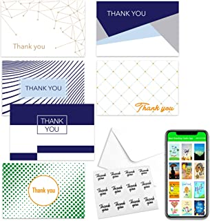 """Thank You Cards (Pack Of 48) With Envelopes&Stickers For Your Business,Job,Professional Career,Graduation,Sympathy, In Designs 4"""" x 6"""