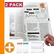 "MagniPros(2PACK) Large Full Page 3X Premium Magnifying Sheet Fresnel Lens 7.5"" X 10.5""+2 Bonus Ruler Magnifiers+2 Bookmark..."