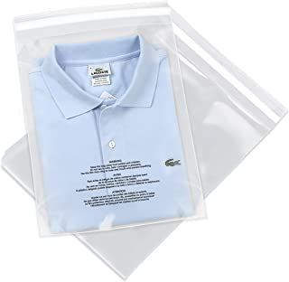 100 Count - 12 X 18 Self Seal 1.5 Mil Clear Plastic Poly Bags with Suffocation Warning - Permanent Adhesive by Spartan Industrial (More Sizes Available)