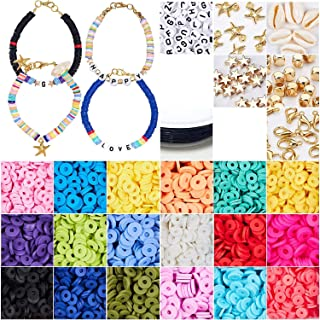 Seed Beads 4000+ Pcs Flat Round Polymer Clay Spacer Beads for Jewelry Making Bracelets Necklace Earring DIY Craft Kit with...