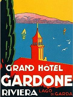 ADVERTISEMENT TRAVEL TOURISM GRAND HOTEL GARDONE RIVIERA LAGO DI GARDA 30X40 CMS FINE ART PRINT ART POSTER 広告旅行ツアーグランドホテルガ...