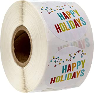 Holiday String of Lights Happy Holidays Stickers/500 Christmas Tags