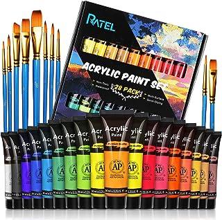 RATEL Set da Colori Acrilici, con 18 Tubi Pittura Acrilica e 10 Pennelli per Pittura, 18×36 ml Pigmento Acrilico, Colore A...