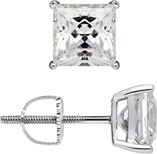 14K Solid White Gold Earrings | Princess Cut Cubic Zirconia Stud | Screw Back Posts | .58-4.0 CTW | With Gift Box