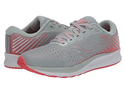 Saucony Kids S-Guide 13 (Little Kid/Big Kid) (Grey/Coral) Girls Shoes
