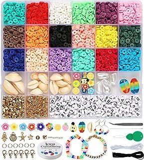 Dsaren 4132 Pièces Bricolage Perles Bijoux Perles Polymere Plates Perles Lettres Perles D'espacement Espacees Perles Alpha...