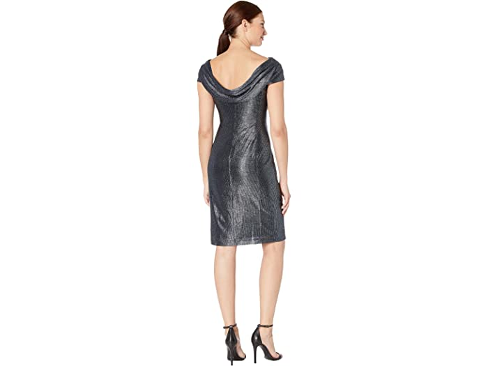 Tahari By Asl Draped Neck Cap Sleeve Stretch Metallic Cocktail Dress - Women Clothing