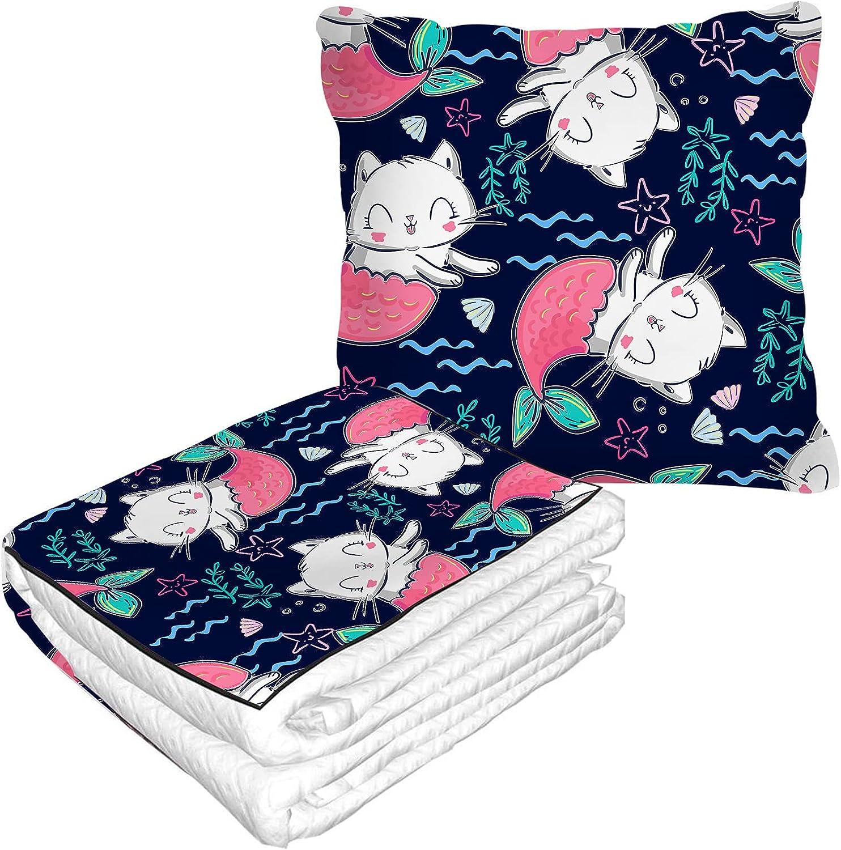 Nicokee Pillow Blanket Mermaid unisex Bombing new work Cats Weed Cartoon Water Starfish