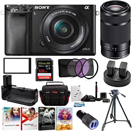 $748 » Sony Alpha a6000 24.3 MP Mirrorless ILC with 16-50mm and 55-210mm Lens Ultimate Camera Bundle