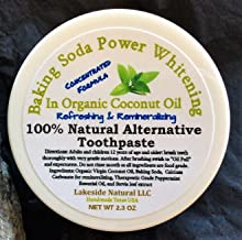 All Natural Toothpaste Alternative with Peppermint Oil and Baking soda in Organic Coconut oil - Oil Pulling & Remineralizing Teeth Whitener for Oral Health
