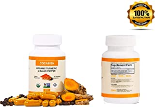 Cocabien Organic Turmeric Curcumin Capsules - Extra Strength 500mg - Supports Healthy Metabolism, Blood Sugar Levels, Anti-Inflammatory, Joint Pain Relief, Heart Health Supplement Pills - 60 Capsules