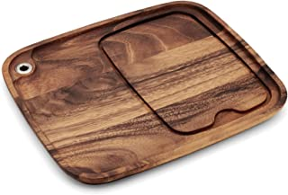Ironwood Gourmet 28101 Fort Worth Steak Plate with Juice Channel, 13 x 11-inches, Brown