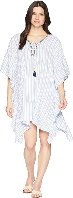 Yarn-Dye Ticking Stripe Lace-Up Tunic Cover-Up
