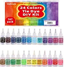 Vanstek Tie Dye DIY Kit, 24 Colors Tie Dye Shirt Fabric Dye for Women, Kids, Men, with Rubber Bands, Gloves, Plastic Film and Table Covers for Family Friends Summer Party Supplies
