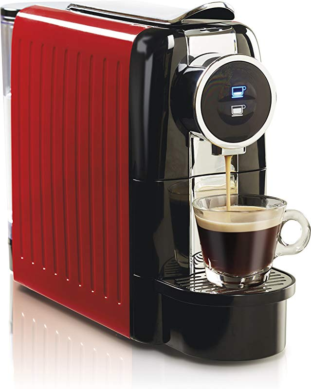 Hamilton Beach 40725 Espresso And Lungo Coffee Machine 19 Bar Italian Pump Holds 13 Capsules 22 Oz Water Tank Red