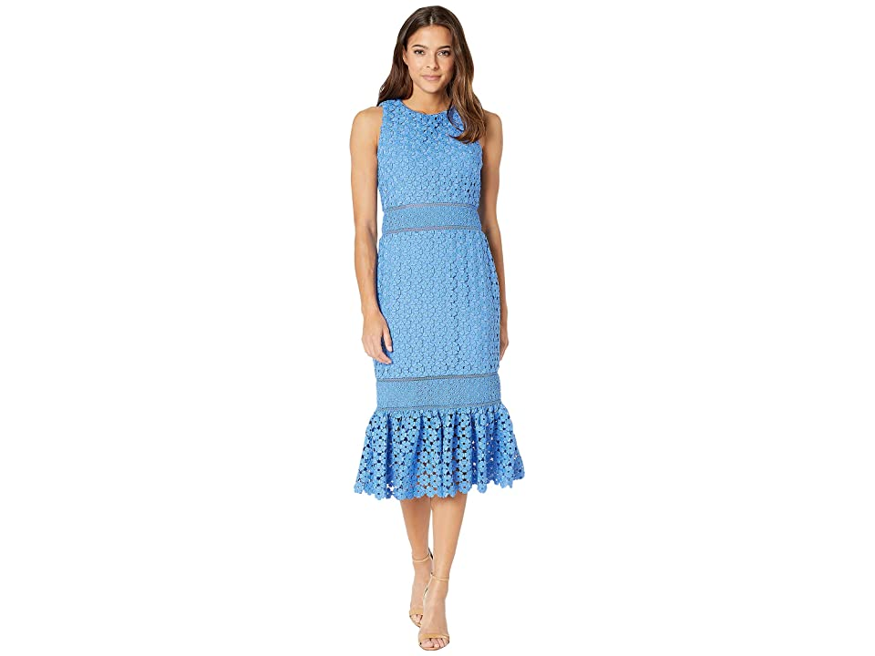 5a03595a31e3d Badgley Mischka Combo Lace Flare Dress (Cornflower Blue) Women