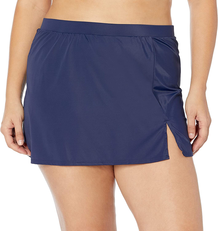 Coastal Blue Women's Size Plus Control Swim Skirted Bottom with Inset Brief