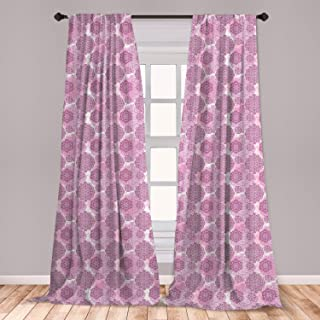 Ambesonne Mandala Curtains, Rosette Ornaments Middle Eastern Persian Style with Pastel Effects, Window Treatments 2 Panel Set for Living Room Bedroom Decor, 56