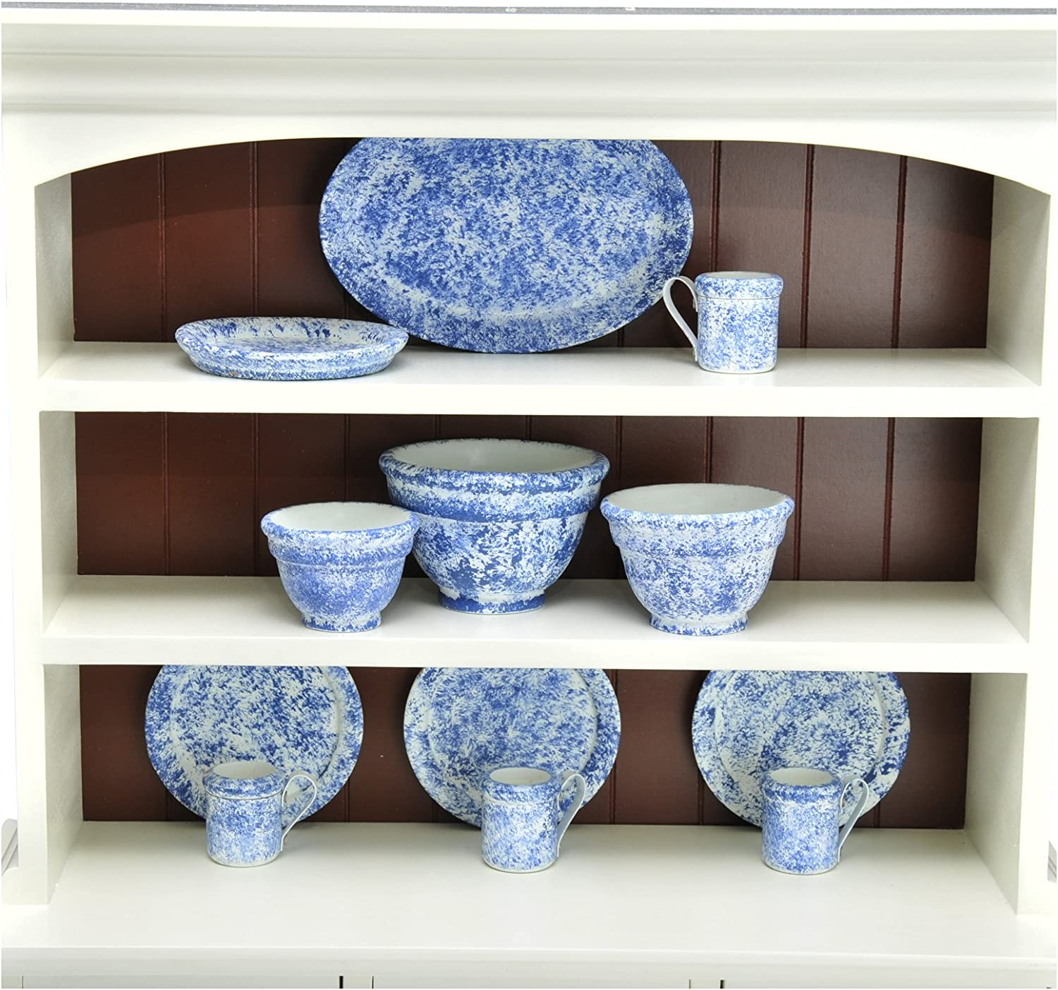 The Queen's Treasures Vintage Style Splatter Ware Serving Set Kitchen Set, 3 Nesting Bowls, Platter, 4 Dishes & 4 Cups Sized Perfectly for use with 18  American Girl Dolls Furniture & Accessories