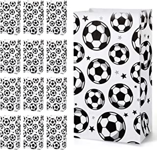 Blulu 30 Pack Paper Soccer Party Favor Bag Candy Goodie Treat Bags Soccer Print Gift Bags for Football Themed Party Favors
