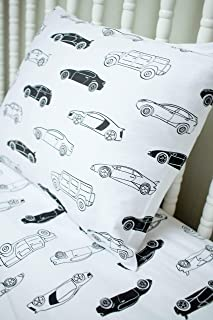 Modern Car Design 100% Jersey Cotton Fitted Crib Sheet Set with Toddler Pillowcase - Soft, Breathable, Hypoallergenic Nursery Bedding - Fits Standard Crib and Toddler Mattress (Modern Motors)