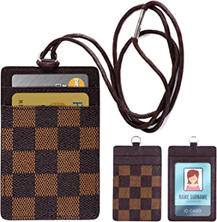 Lanyard ID Badge Holder Leather Credit Card Wallet - Brown