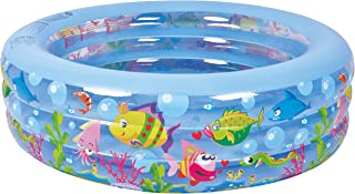 "Jilong Summertime Kiddie Pool - Large Inflatable Pool for Kids with Aquarium Design - 185"" x 73"