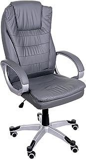 Silla cómoda del ordenador de oficina de Giosedio BSU, cuero, silla de oficina elegante de la mirada. Brazos suaves y forma ergonómica del respaldo. (Gris)