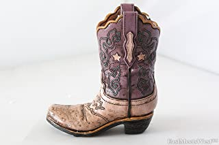 Texas Cowgirl Rustic Pink Purple Hand Tooled Leather Look Boot Piggy Bank Hand Painted Decoration