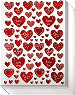 Jazzstick 400 Red & White Valentine Heart with Love Decorative Sticker 10 sheets (VST01A03)