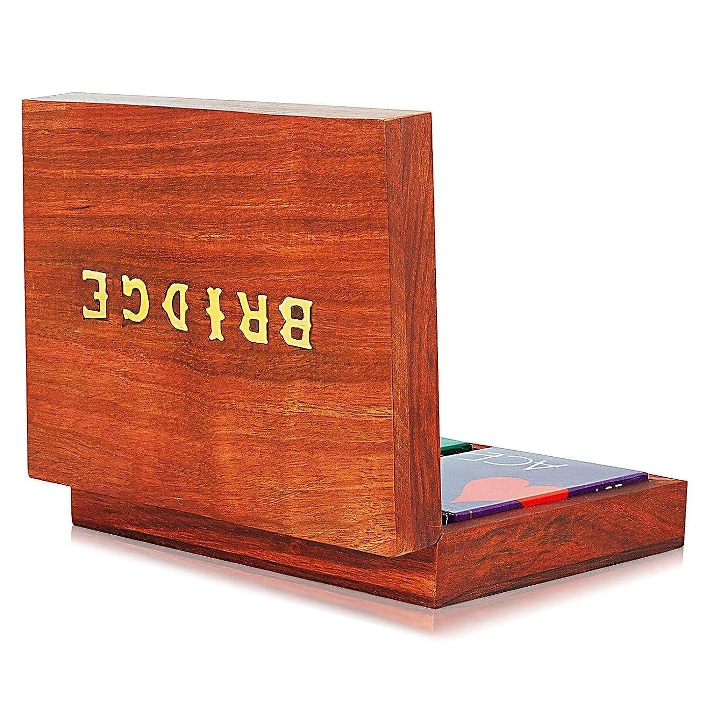 インタラクション変形する排除するThe Great Indian Bazaar 手作り木製ブリッジトランプ ホルダー デッキボックス 収納ケース オーガナイザー 2セット 高品質 「Ace」トランプ 記念日 新築祝い ギフト 彼氏 彼女