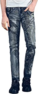FANZHUAN Lush Mens Printed and Embroidery Fashion Jeans Slim Fit