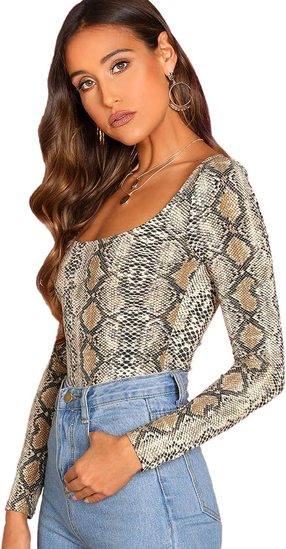 SheIn Women's Square Neck Long Sleeve Casual Animal Print Tee T-Shirt