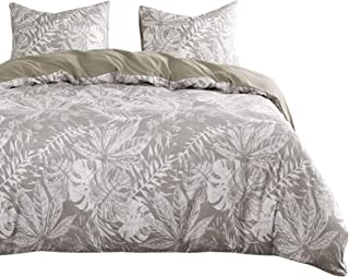 Wake In Cloud - Tropical Comforter Set, Monstera and Palm Tree Leaves Pattern Printed in White on Light Gray Grey, Soft Microfiber Bedding (3pcs, King Size)